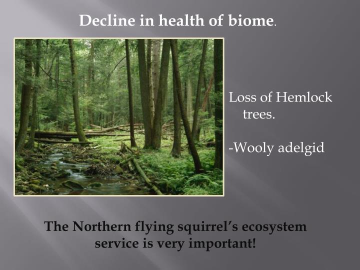 Decline in health of biome
