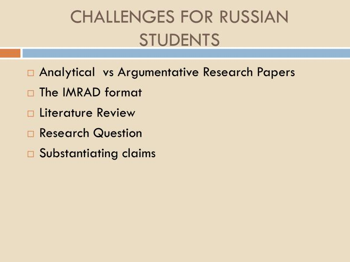 Challenges for russian students
