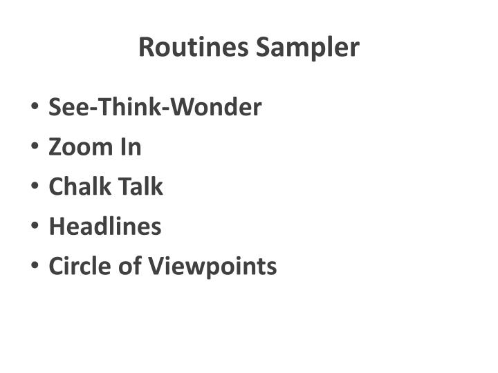 Routines Sampler