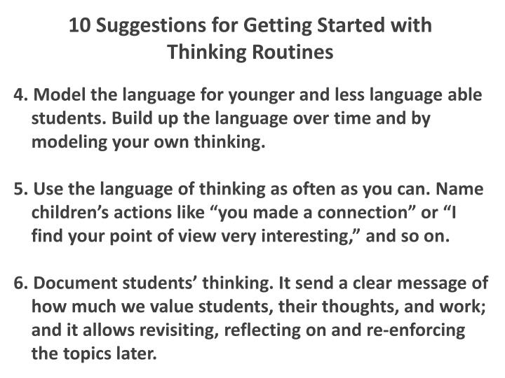 10 Suggestions for Getting Started with Thinking Routines
