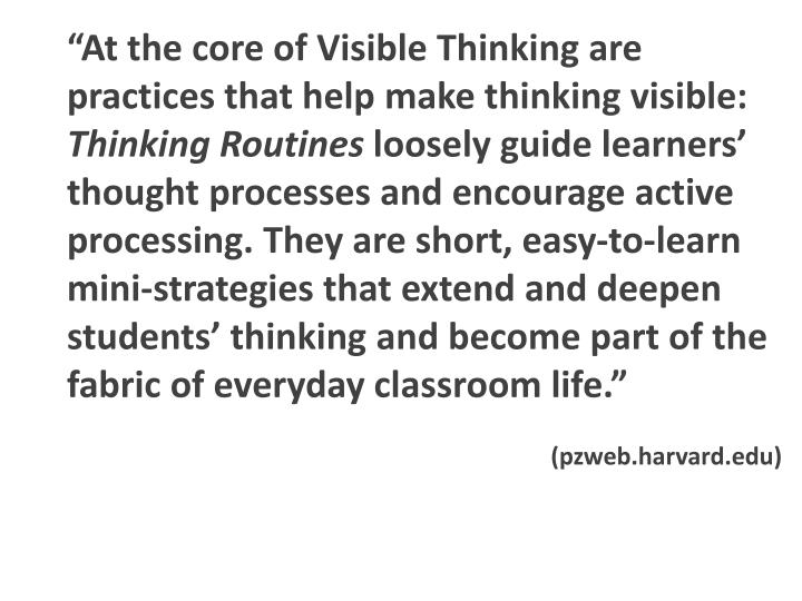"""At the core of Visible Thinking are practices that help make thinking visible:"