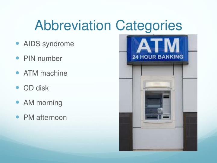 Abbreviation Categories