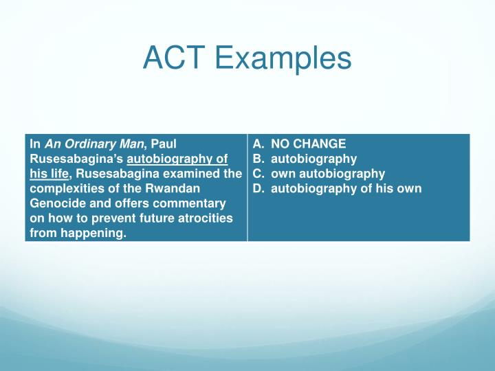 ACT Examples