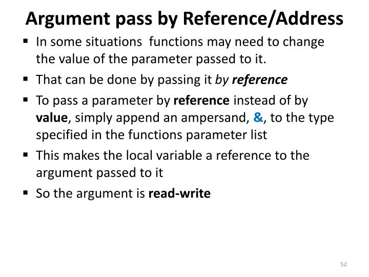 Argument pass by Reference/Address