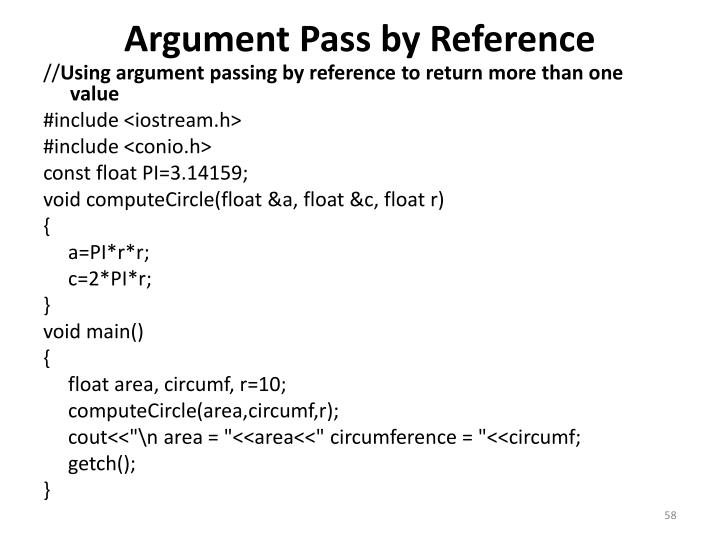 Argument Pass by Reference