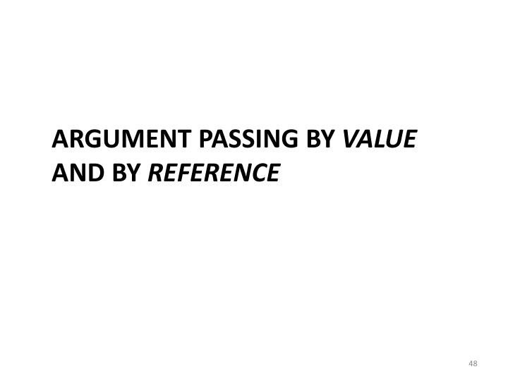 Argument Passing by