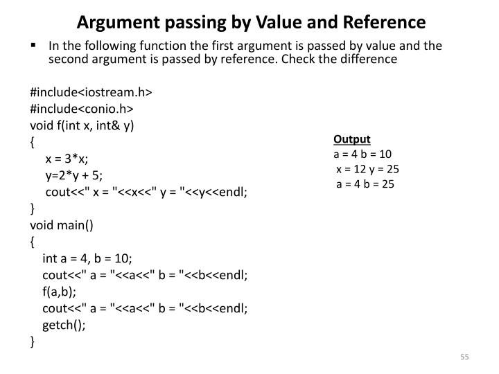 Argument passing by Value and Reference