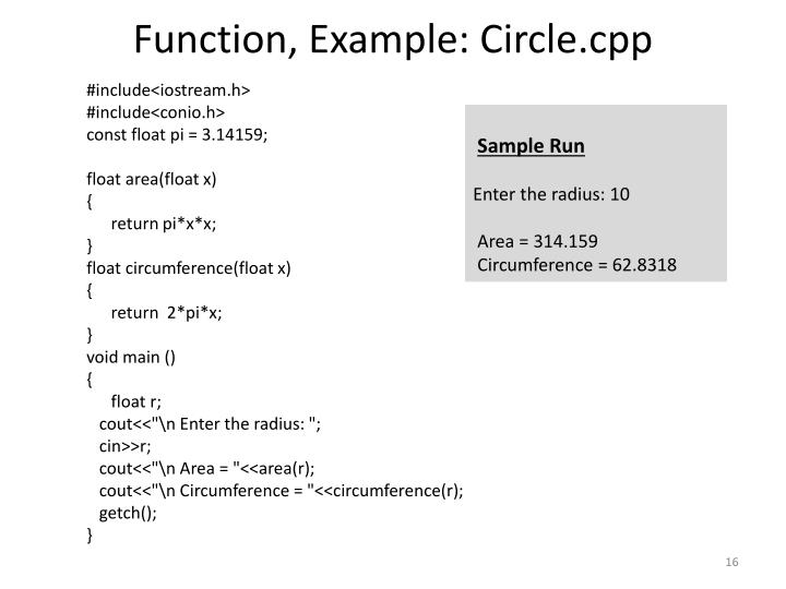 Function, Example: Circle.cpp