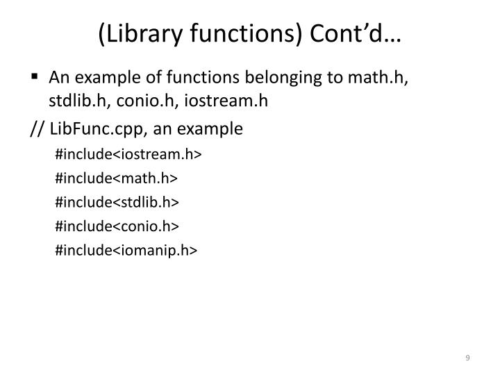 (Library functions) Cont'd…