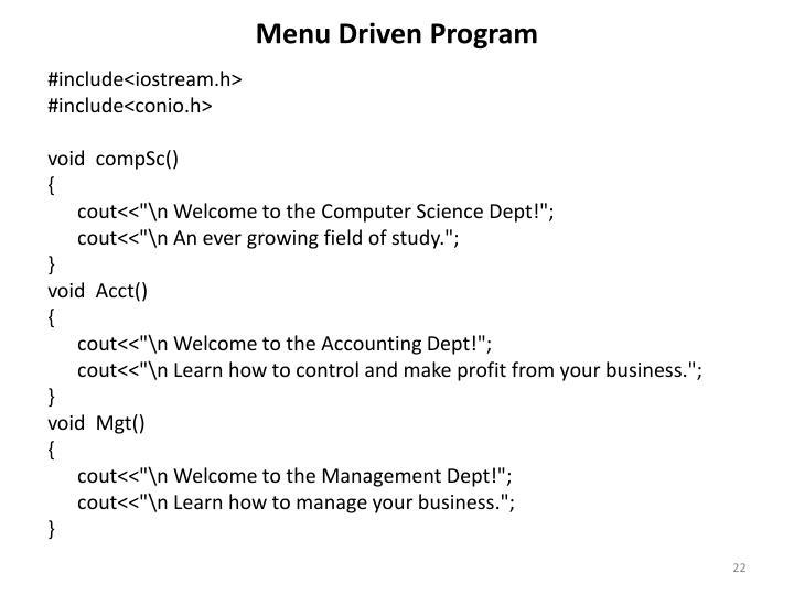Menu Driven Program