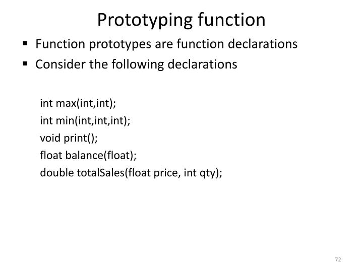 Prototyping function