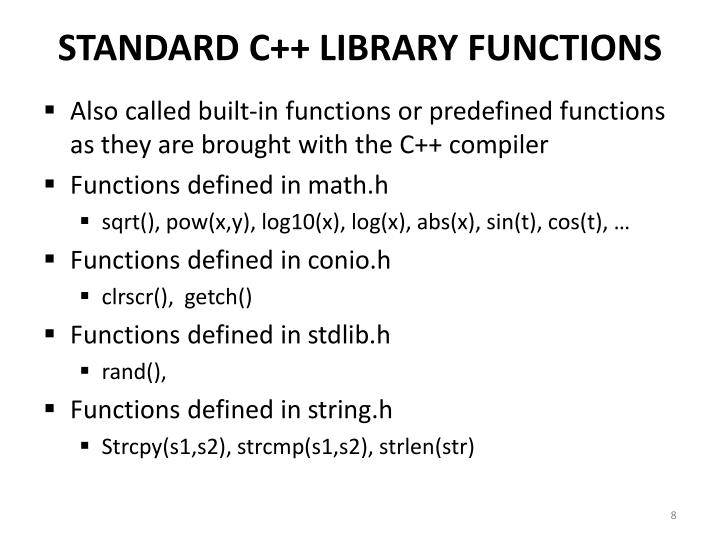 STANDARD C++ LIBRARY FUNCTIONS