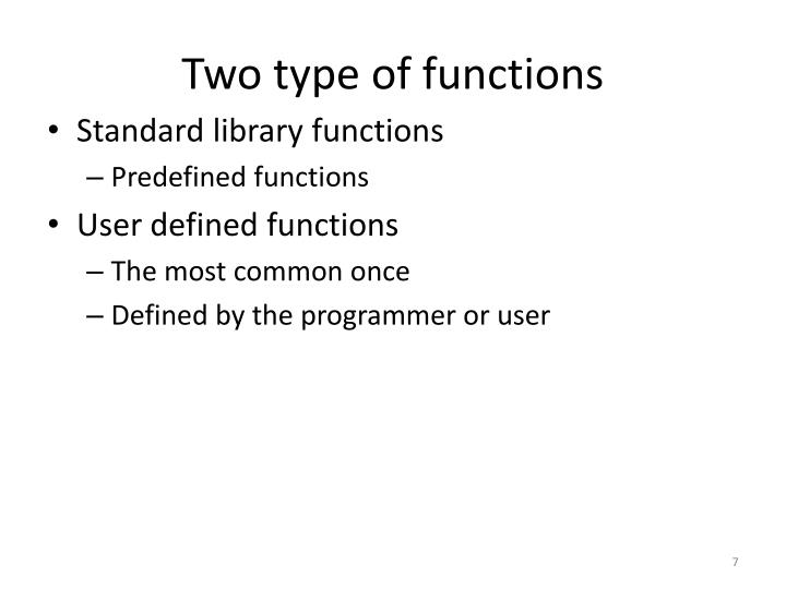 Two type of functions