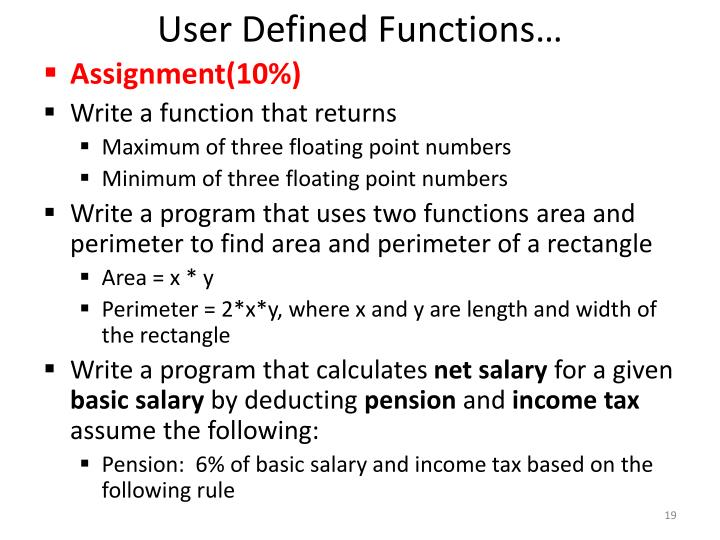User Defined Functions…