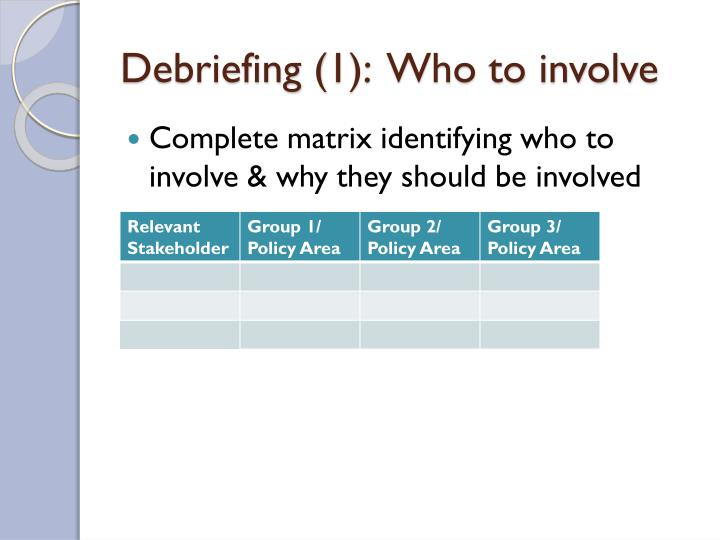 Debriefing (1):  Who to involve