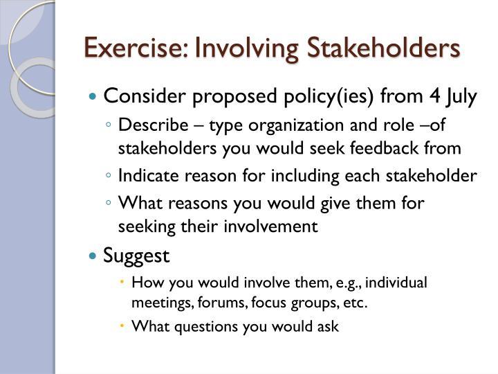 Exercise: Involving Stakeholders
