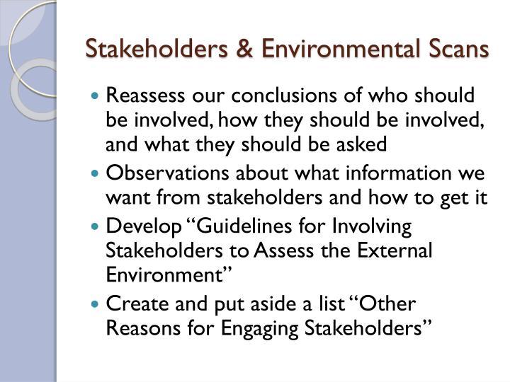 Stakeholders & Environmental Scans