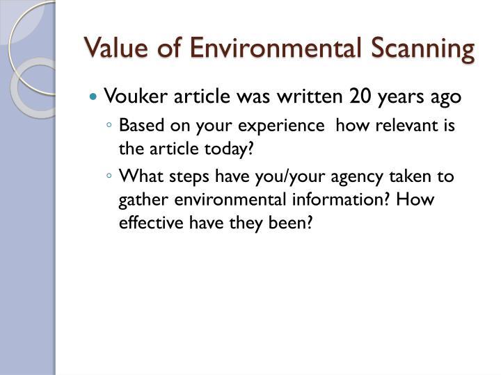 Value of Environmental Scanning
