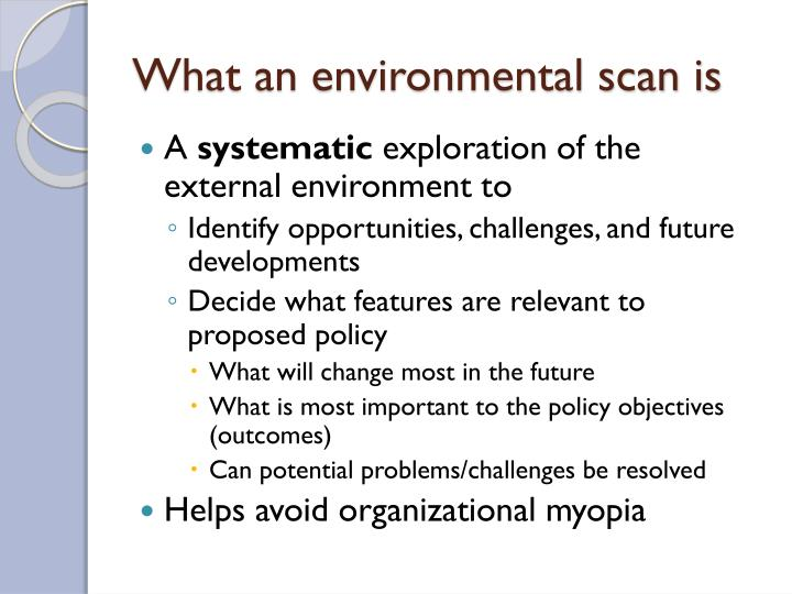 What an environmental scan is