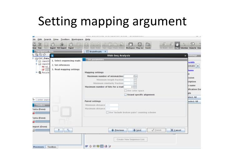 Setting mapping argument