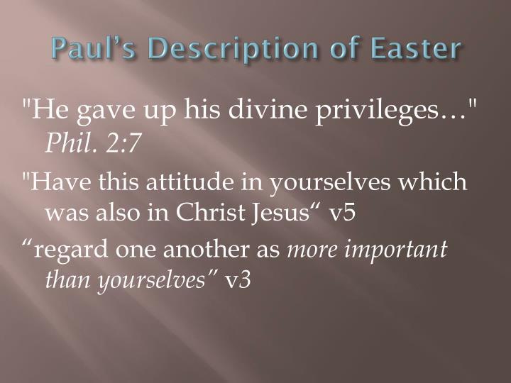 Paul's Description of Easter