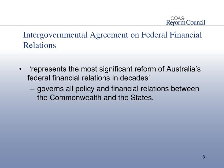 Intergovernmental Agreement on Federal Financial Relations