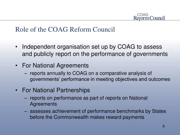 Role of the COAG Reform Council