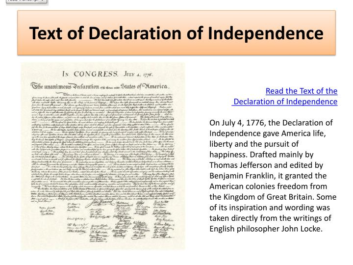 Légend image in printable declaration of independence text