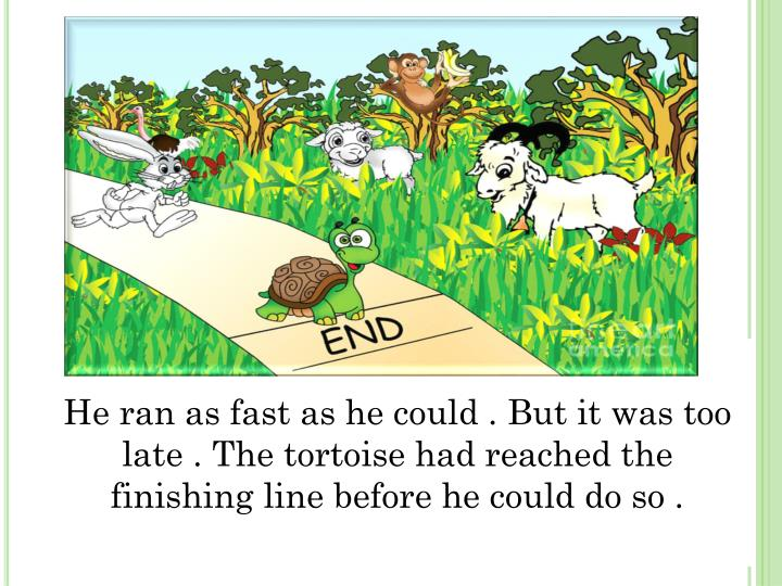 He ran as fast as he could . But it was too late . The tortoise had reached the finishing line before he could do so .