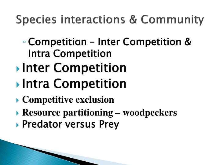 Species interactions community