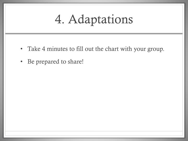 4. Adaptations