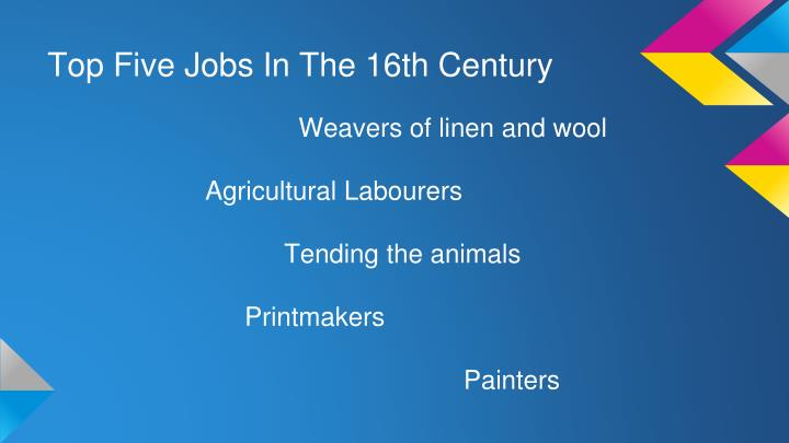 Top Five Jobs In The 16th Century