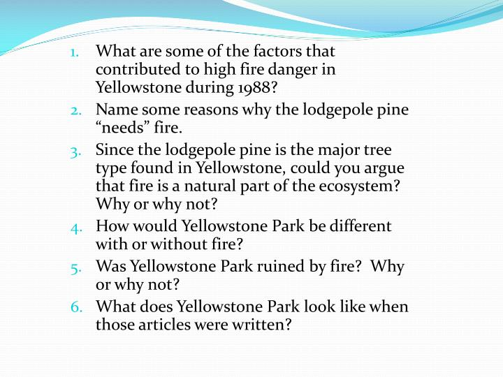 What are some of the factors that contributed to high fire danger in Yellowstone during 1988?
