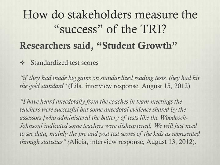 "How do stakeholders measure the ""success"" of the TRI?"
