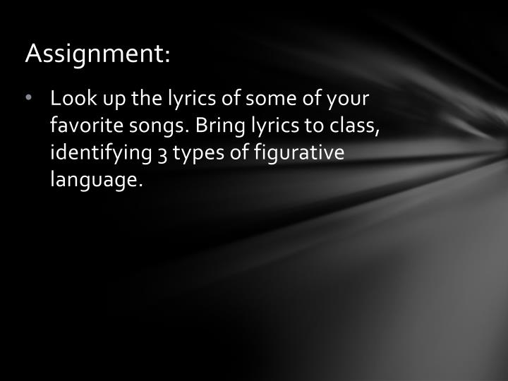 figurative terminology song you select assignment
