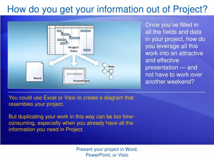 How do you get your information out of Project?