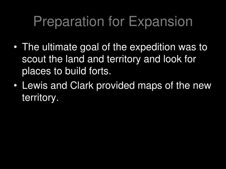 Preparation for Expansion
