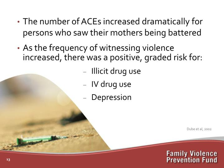 The number of ACEs increased dramatically for persons who saw their mothers being battered