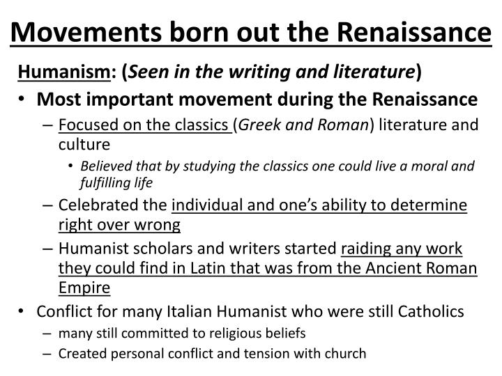 Movements born out the Renaissance