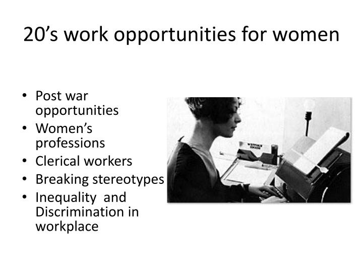 20's work opportunities for women