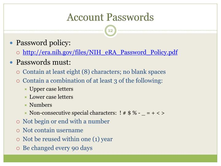 Account Passwords