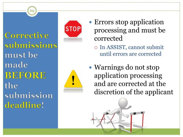 Errors stop application processing and must be