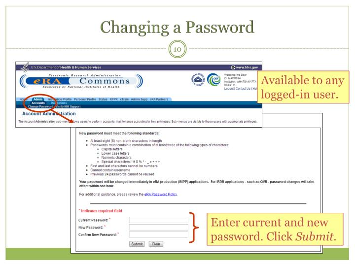 Changing a Password