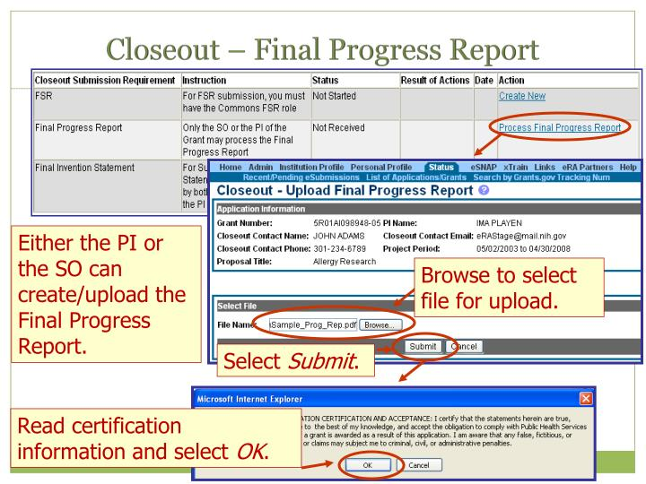Closeout – Final Progress Report
