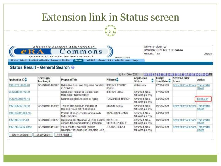 Extension link in Status screen