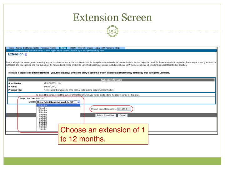 Extension Screen
