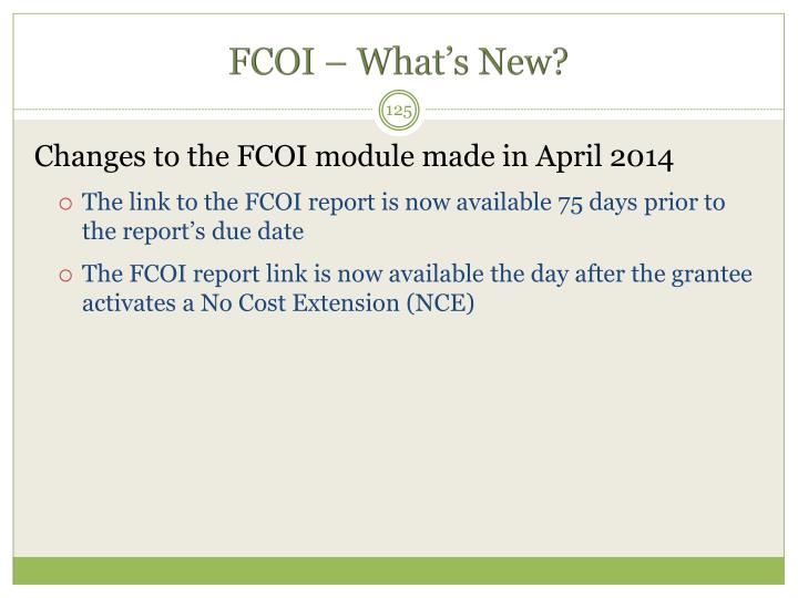 FCOI – What's New?