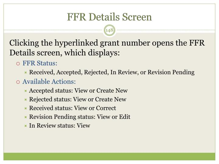 FFR Details Screen