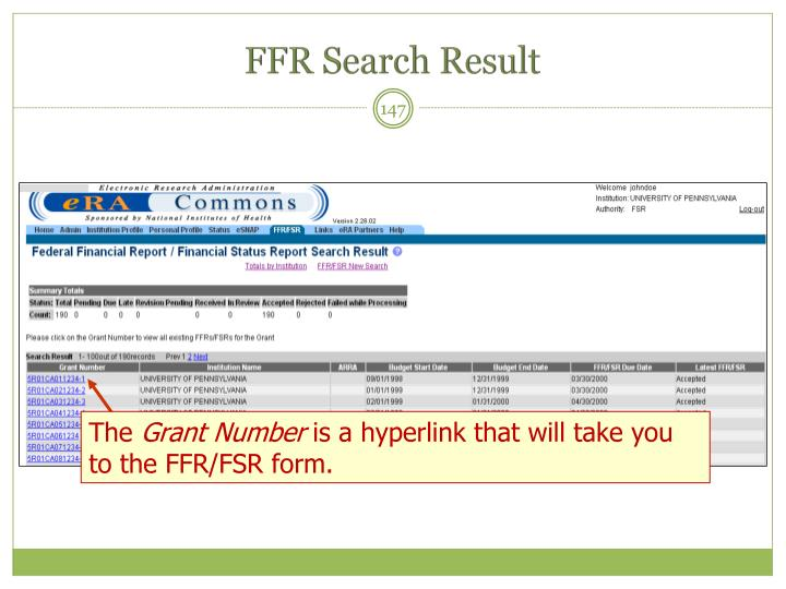 FFR Search Result