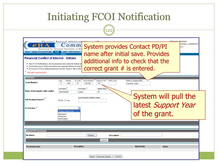 Initiating FCOI Notification